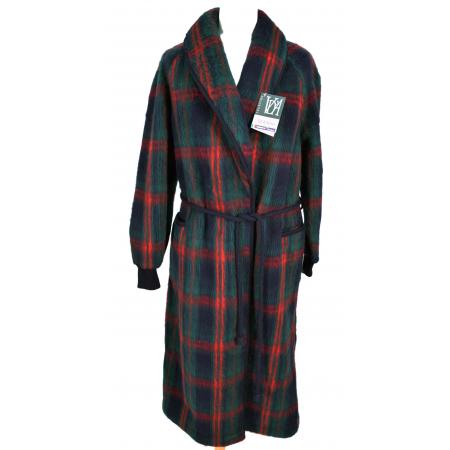 Robe de chambre laine des pyrenees femme ecossais marine - Robe de chambre homme laine des pyrenees ...