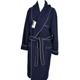 Robe de chambre homme laine des Pyrénées galon fantaisie marine