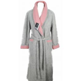 Robe de chambre laine des Pyrénées croisé col châle contrasté