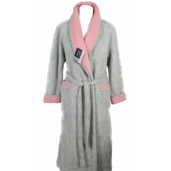 Robe de chambre femme en laine des pyr n es la vente en gris - Robe de chambre en laine ...