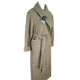 Robe de chambre laine des Pyrénées croisé col châle poignets revers