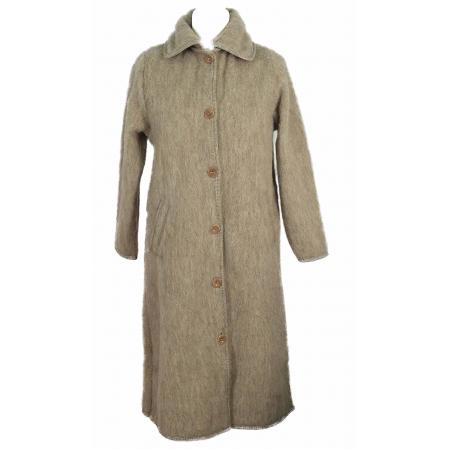 robe de chambre laine des pyrenees beige boutonn e 7 8. Black Bedroom Furniture Sets. Home Design Ideas