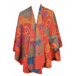 Cape poncho Picasso rouge