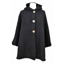 Cape capuche tricot noir