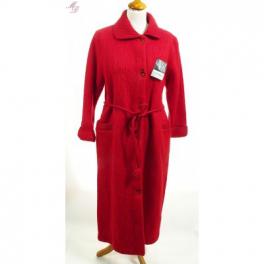 Robe de chambre laine des Pyrénées boutonnée col tricot griotte