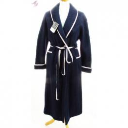 Robe de chambre laine des Pyrénées croisé col châle chic marine
