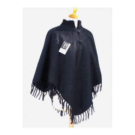 Poncho laine des Pyrénées col tricot noir