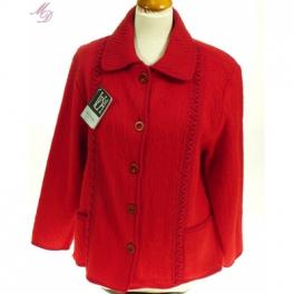 Veste laine des Pyrénées torsades col tricot griotte