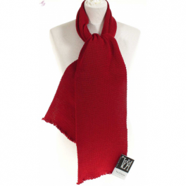 Echarpe laine maille rouge