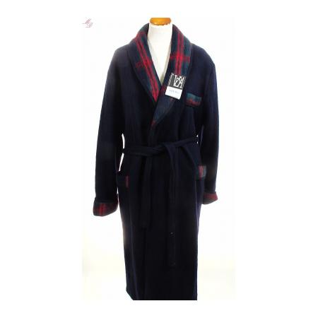 Peignoir homme en laine des pyr n es marine de val d 39 arizes - Robe de chambre en laine ...