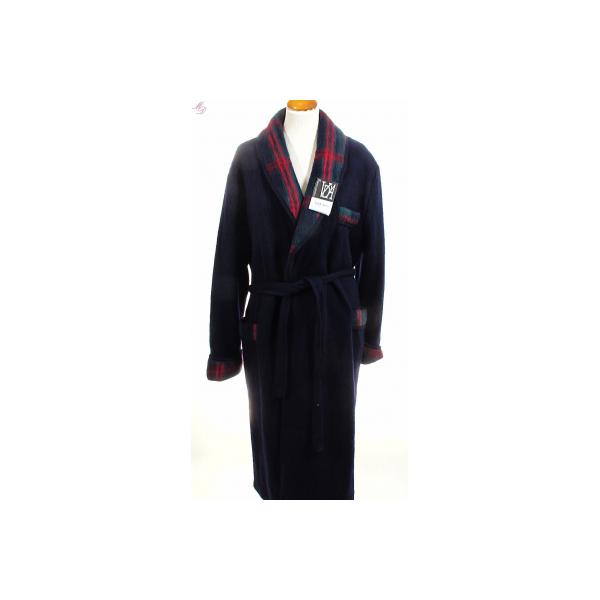 Peignoir homme en laine des pyr n es marine de val d 39 arizes - Robe de chambre en laine des pyrenees pour homme ...