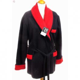 Veston homme laine des Pyrénées noir rouge