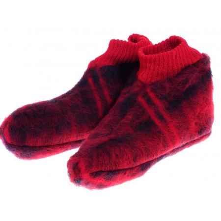 Chaussons laine des Pyrénées écossais rouge