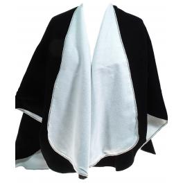 Cape poncho noir blanc